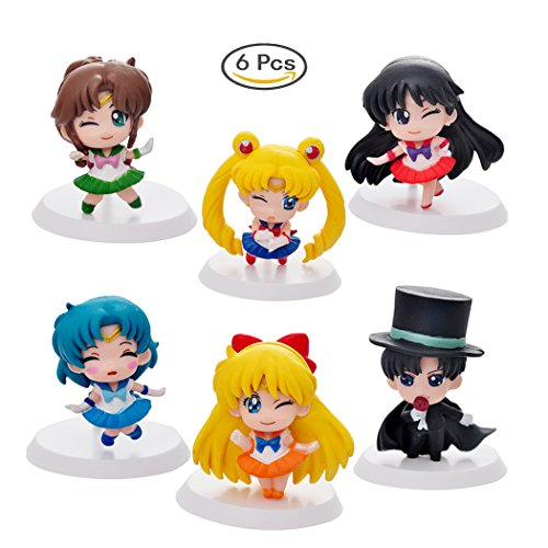 6 Pcs (1 Set ) Sailor Moon Action Figure, Sailor Moon, Tuxedo Mask, Sailor Mercury, Sailor Mars, Sailor Jupiter, Sailor Venus, Mini Cute Action Figure, 5cm