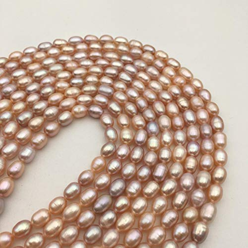 ShopForAllYou Design Making Multi Color Pink Freshwater Pearl Rice Shape Loose Beads Size 5x6mm
