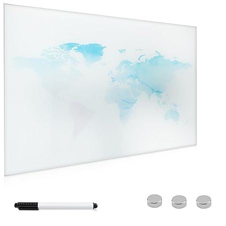 Navaris Magnettafel Memoboard aus Glas - Magnetwand 60x40 cm zum Beschriften - Magnetische Tafel inkl. Magnete Stift Halterun