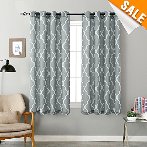 Linen Textured Curtains for Bedroom Grey on Flax 54 inch Long Moroccan Tile Print Room Darkening Window Curtains for Living Room 1 Pair Eyelet (Moroccan Bedroom)