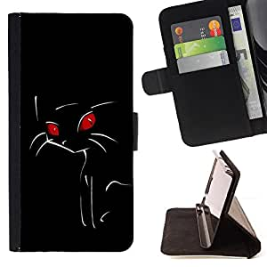 For Samsung Galaxy S6 Edge Plus Minimalist Red Eye Cat Style PU Leather Case Wallet Flip Stand Flap Closure Cover