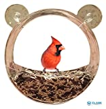 Clark Family Premium Clear Window Bird Feeder – Clear Acrylic Extra Large Bird Feeder – Unique Round Design – Extra Strong Suction Cups – Squirrel & Weatherproof – Great Gift Idea! For Sale