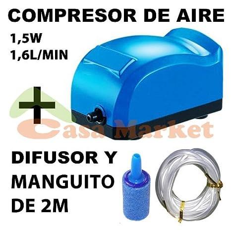 COMPRESOR AIRE OXIGENADOR PARA PECERA O ACUARIOS,1,5W 1,6L/MIN AIR PUMP AP-9800: Amazon.es: Electrónica