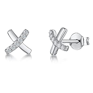 1c2a1bf56 JOOLS by Jenny Brown ® -Sterling Silver Stud Earrings- Featuring Silver And  Pave Set CZ Kisses: Amazon.co.uk: Jewellery