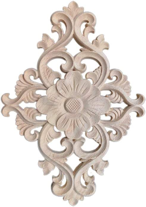 Healifty Wooden Carved Onlay Applique Unpainted Carving Flower Onlay Wood Door Cabinet Cupboard Furniture Decoration M