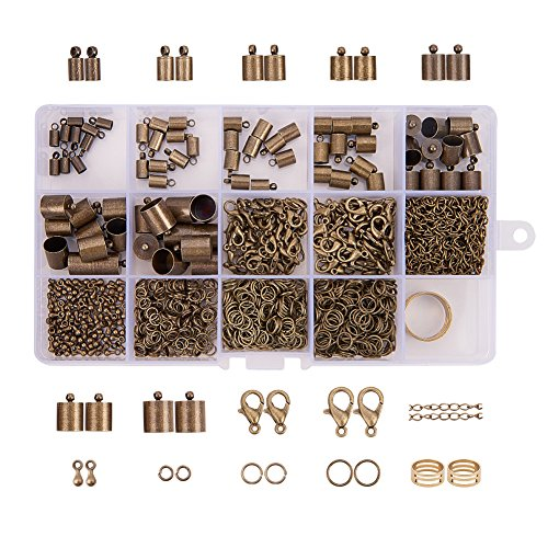 PandaHall Elite About 890Pcs Jewelry Finding Sets with Jump Rings Lobster Clasps End Piece Chains and Assistant Buckling Tool Antique Bronze