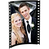 "Black Acrylic Photo Frame with Film Strip Design on Sides, Holds 5"" x 7"" Photos"
