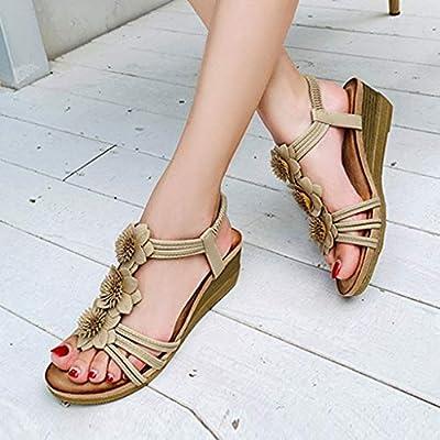 Dainzusyful Summer Sandals for Women, Beach Sandals Non-Slip Wedge Bohemian Sandals Open Toe Elastic Roman Shoes: Clothing