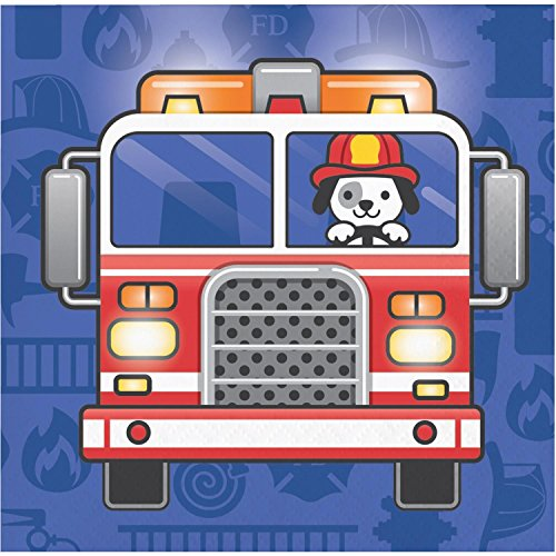 Pack of 192 Multicolored Flaming Fire Truck Disposable Beverage Napkins 5'' by Party Central