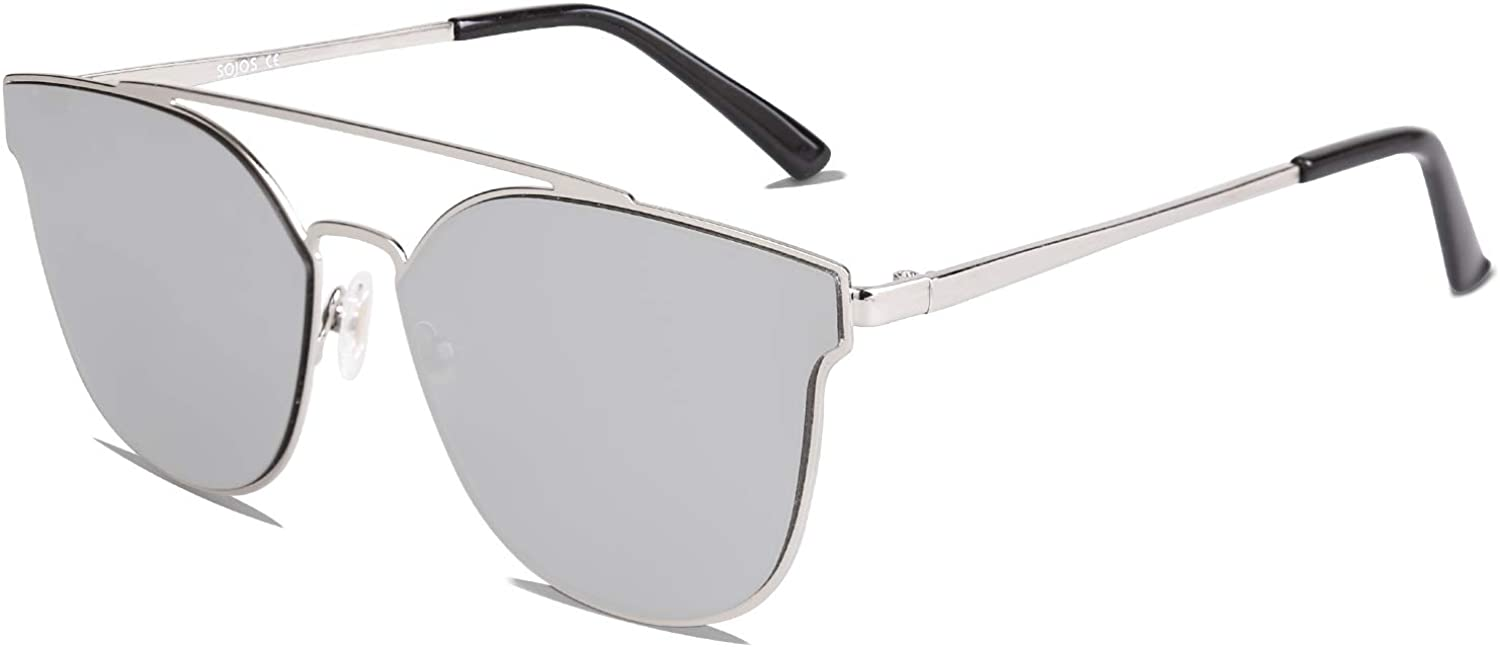 Amazon.com: SOJOS Fashion Cateye Reflective Sunglasses Mirrored For Women Trendy Designer Style Flat Lenses SO SHINE SJ1100 with Silver Frame/Silver Mirrored Lens: Clothing