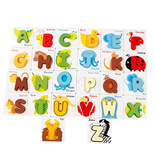 Zerowin 26pcs Alphabet with Animals Matching Memory Self Correcting Letter Puzzles Cards
