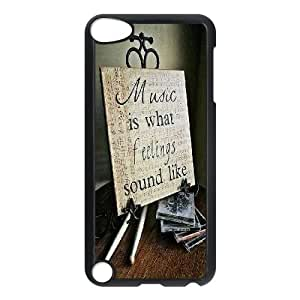 Qxhu No Music No Life Protective Snap On Hard Plastic Case for Ipod Touch5