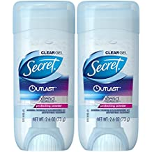 Secret Outlast Clear Gel Antiperspirant and Deodorant, Protecting Powder Scent, 2.7 Ounce (Pack of 2)