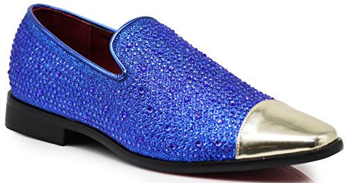 SPK12 Men's Vintage Fashion Sparkle Rhinestone Patent Toe Designer Dress Loafers Slip On Shoes Classic Tuxedo Dress Shoes (9.5 D(M) US, Royal Blue) ()