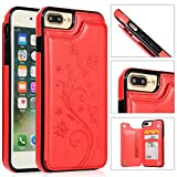 Back Wallet Case for iPhone 7 Plus/8 Plus with Stand,QFFUN Elegant Embossed Design [Butterfly Flower] Lightweight Slim Fit Leather Phone Case with Card Holder Protective Bumper Flip Cover - Red