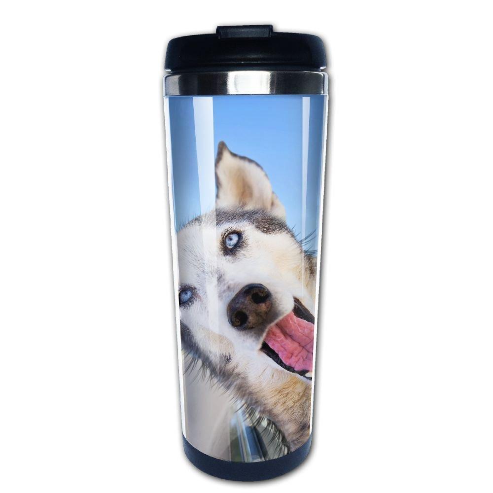 Kooiico A Funny Husky Wolf Mix With Her Head Out Of A Car Window Coffee Mug Thermal Mug With Easy Clean Lid 14-Ounce Mug
