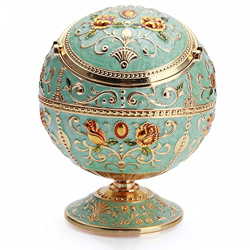 K-COOL-Metal-Smoke-Free-Ball-Cigarettes-Ashtray-with-Lid-Hand-Stamped-Pattern-Gift-for-Men-and-Women-Light-Jade-Green