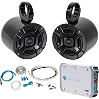 Pair Polk Audio 6.5 300 Watt Marine Wakeboard Tower Speakers+Amplifier+Amp Kit