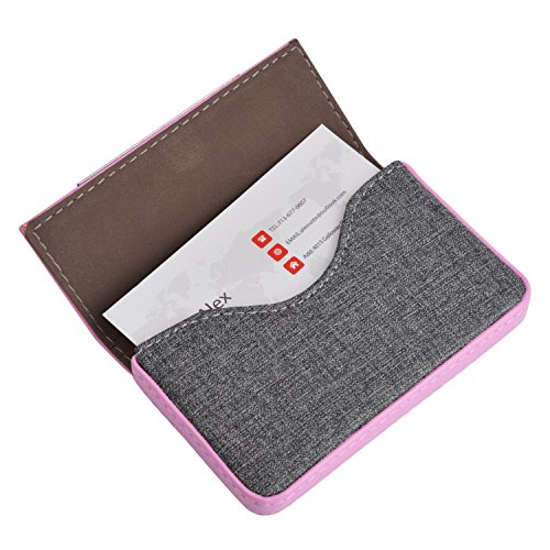 MaxGear Leather Business Card Holder Fashion Business Cards Case with Magnetic Shut, Holds 25 Business Cards, Men or Women Name Card Holder Case Pink (Business Card Pink)