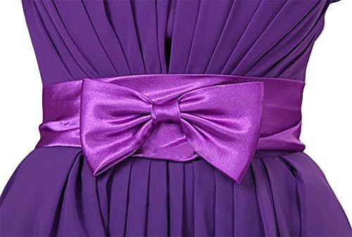 Heimkehr Party Ball drasawee Kleider Junior Kleid Kurz Trägerlos Brautjungfer Violett Chiffon xpRP6