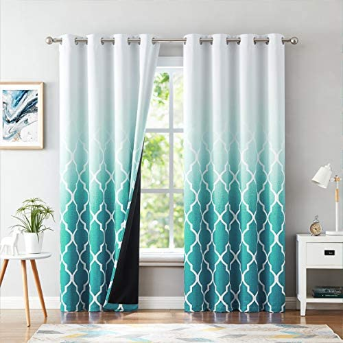 Editors' Choice: Metro Parlor Teal Ombre Blackout Window Curtains 95 Inches Long