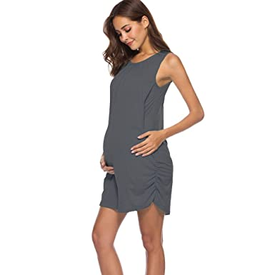 Amazon Com Maternity Vest Dress Women Sleeveless Side Ruched