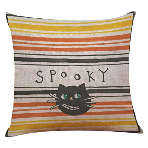 "YOcheerful Halloween Pillow Cover Pumpkin Witch Scary Bat Ghost Devil Kittens (F,45cm45cm/1818"") for $<!--$1.99-->"
