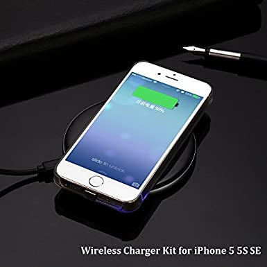 Antye Qi Wireless Charger Charging Receiver Case for iPhone SE//5//5S with 1A Output Gold