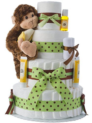 Diaper Cake - Monkey Theme Handmade By Lil Baby Cakes - Gift For Baby Boy - Makes a Great Baby Shower ()