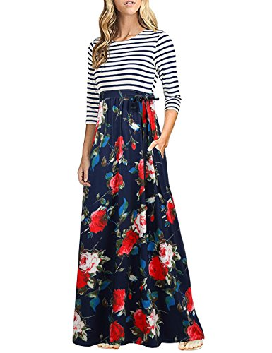 HNNATTA Maxi Dresses for Women Petite, Retro Style Floral Printed Long Sleeve Boho Dress Office Ladies Casual Evening Party Long Maxi Dress Roses S