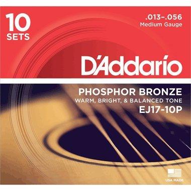 D'Addario EJ17-10P Phosphor Bronze Acoustic Guitar Strings, Medium, 13-56, 10 Sets by D'Addario