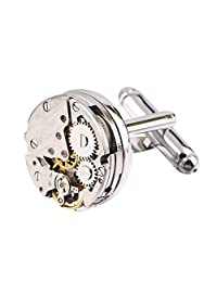 GraceAngie 1Pair Men's Fashion Cuff Links Steampunk Gear Watch Cufflinks Wedding Jewelry Gifts