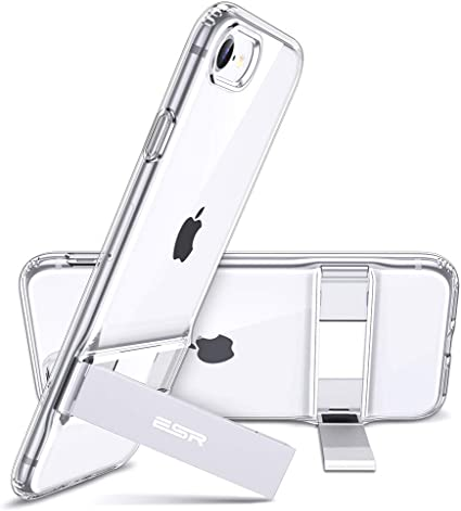 Amazon Com Esr Metal Kickstand Designed For Iphone Se 2020 Case Iphone 8 Case Vertical And Horizontal Stand Reinforced Drop Protection Flexible Tpu Soft Back For Iphone Se 2 New 2020 Iphone 8 2017 Clear
