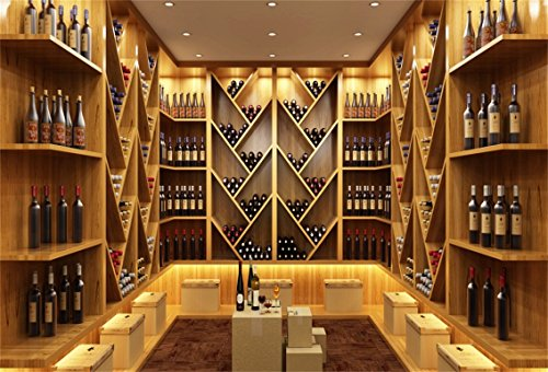 CSFOTO 5x3ft Background for Bar Winery Photography Backdrop Red Wine Elegant Alcohol Cafes Club Romantic Mosaic Storage Indoor Champaign Relax VIP Noble Adult Photo Studio Props Polyester -