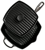 Le Creuset Cast Iron Panini Press and Signature Square Skillet Grill Set, 10 1/4'', Oyster