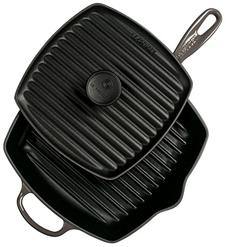 Le Creuset Cast Iron Panini Press and Signature Square Skillet Grill Set, 10 1/4'', Oyster by Le Creuset