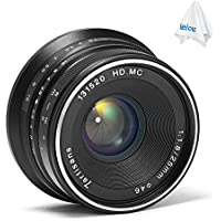 7artisans 25mm F1.8 Manual Focus MF Prime Lens for Panasonic/Olympus Micro 4/3 MFT Mount (Black)