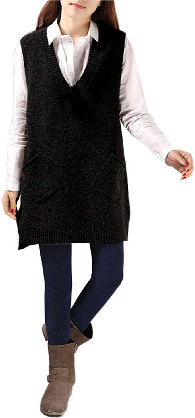Abuyall Women Sleeveless Hi Low Sweater Vest Ribbed Knit