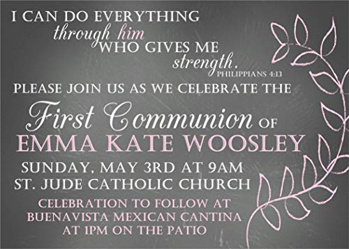 (Girls Personalized Baptism, Christening, First Communion or Baby Dedication Invitations)