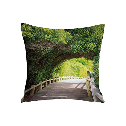 ALUONI Forest Soft Car Waist Throw Cushion,Nature Boardwalk Through Green Archway Bridge Foliage Trees Sunny Summer Day for Car,15