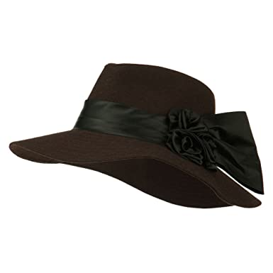 a9bbc887e6a Wide Brim Dressy Hat with Flower Decoration - Brown OSFM at Amazon ...
