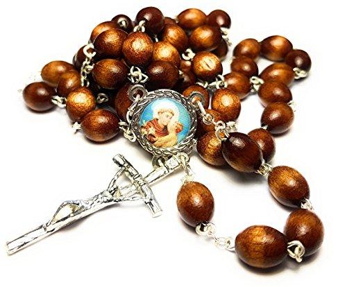 Relic Rosary 3rd Class Saint Anthony Padua Patron of Lost Items People & Souls; American Indians amputees Animals Brazil Antonio Padua patrono de objetos extraviados de quienes buscan pareja (Brown)