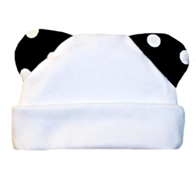 Jacqui's Unisex Baby White Hat With Polka Dot Ears