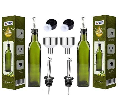 (Olive Oil Dispenser Bottle - 2 Pack of 17oz Glass Olive Oil Bottles with Easy Pour Spout Set - Oil and Vinegar Cruet Set with Food Grade Funnel Drip-Free Olive Oil Carafe Decanter for Kitchen)