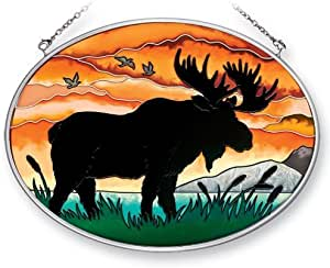 Amia 41357 Moose Silhouette 7 by 5-1/2-Inch Oval Sun Catcher, Medium