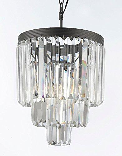 (Palladium Empress Crystal (tm) Glass Fringe 3-tier Chandelier Chandeliers Lighting Mini Pendant)