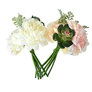 Homeford Silk Rose and Peony Bush with Succulents, 11-Inch 44