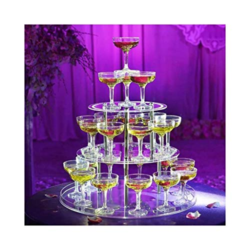 New Wedding Creative Layout Props Acrylic Three-Layer Round Cup Tower Wine Rack Wedding Props (Color : Tower+Cup 30)