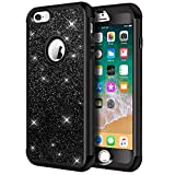iPhone 6s Case, iPhone 6 Case, Hython Heavy Duty Full-Body Defender Protective Case Bling Glitter Sparkle Hard Shell Armor Hybrid Shockproof Rubber Bumper Cover for iPhone 6/6s 4.7-inch, Black