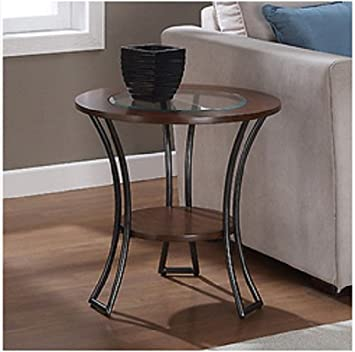 Carlisle Walnut Charcoal Grey Round End Table Living Room Furniture Tables